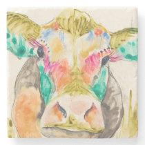 Colorful Cow Design Stone Coaster