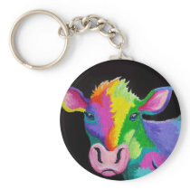 Colorful Cow Keychain