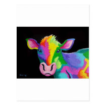 Colorful Cow Postcard
