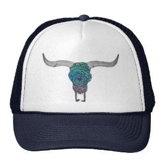 Colorful cow skull cap trucker hat