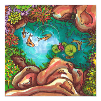 Colorful coy pond illustrated with markers card