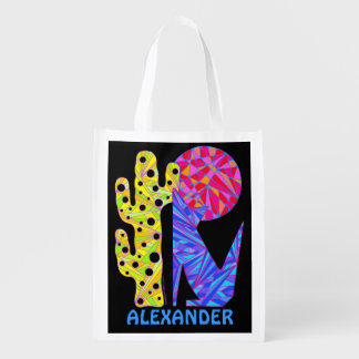 Colorful Coyote Wolf Art Personalized Reusable Bag