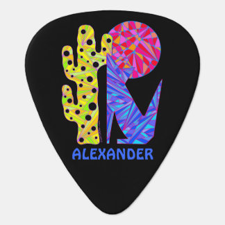 Colorful Coyote Wolf Southwest Art Design Custom Guitar Pick