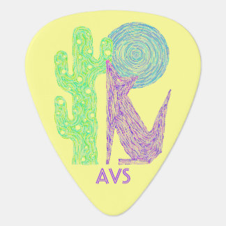 Colorful Coyote Wolf Southwest Musician Monogram Guitar Pick