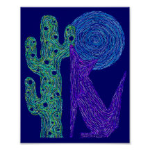"""Colorful Coyote Wolf Southwestern Art 8"""" x 10"""" Poster"""