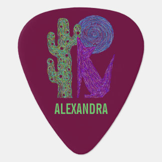 Colorful Coyote Wolf Southwestern Art Custom Guitar Pick