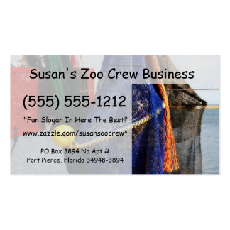 Colorful crabbing fishing nets and floats, florida business card