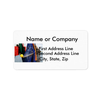 Colorful crabbing fishing nets and floats, florida address label