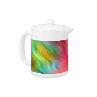 Colorful Crane Flower Wavy Texture Teapot
