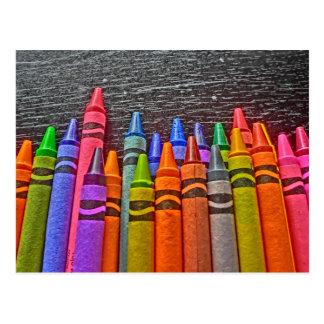 Colorful crayon bright idea postcard