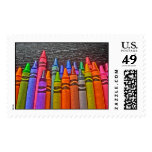 Colorful crayons bright idea postage stamps