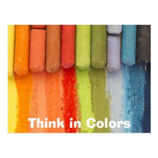 colorful crayons postcard