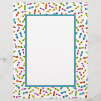 Colorful crayons stationary paper
