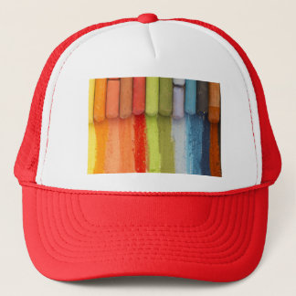 colorful crayons trucker hat