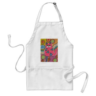 Colorful Crazy Abstract Cat design Adult Apron