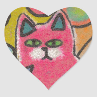 Colorful Crazy Abstract Cat design Heart Sticker