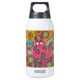 Colorful Crazy Abstract Cat design Insulated Water Bottle