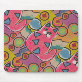 Colorful Crazy Abstract Cat design Mouse Pad
