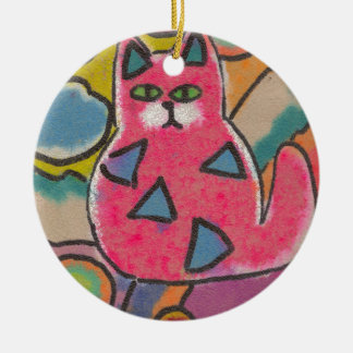 Colorful Crazy Abstract Cat design Christmas Ornaments