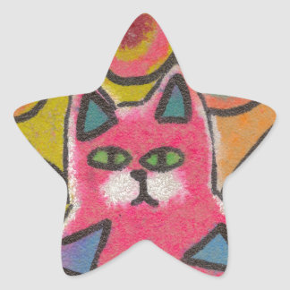 Colorful Crazy Abstract Cat design Sticker