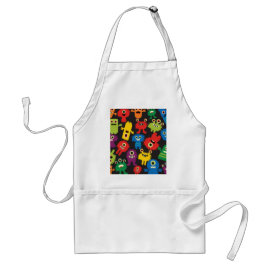 Colorful Crazy Fun Monsters Creatures Pattern Apron