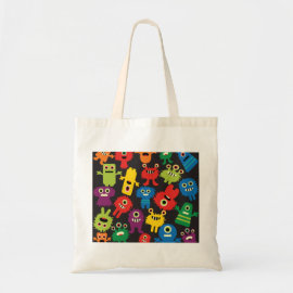Colorful Crazy Fun Monsters Creatures Pattern Tote Bag