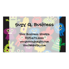 Colorful Crazy Fun Monsters Creatures Pattern Business Cards