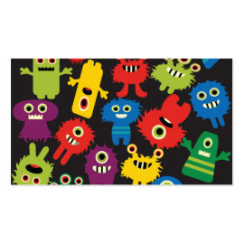 Colorful Crazy Fun Monsters Creatures Pattern Business Card Template