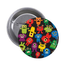 Colorful Crazy Fun Monsters Creatures Pattern Pinback Button