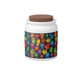 Colorful Crazy Fun Monsters Creatures Pattern Candy Dish