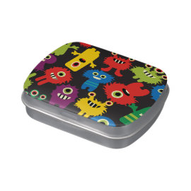 Colorful Crazy Fun Monsters Creatures Pattern Jelly Belly Tin