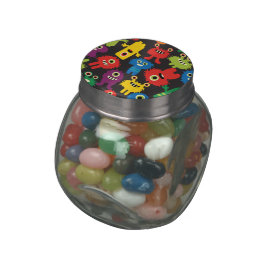 Colorful Crazy Fun Monsters Creatures Pattern Glass Candy Jars