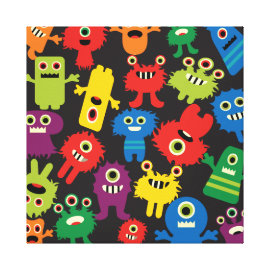 Colorful Crazy Fun Monsters Creatures Pattern Canvas Prints