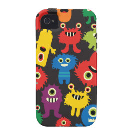 Colorful Crazy Fun Monsters Creatures Pattern Case-Mate iPhone 4 Case