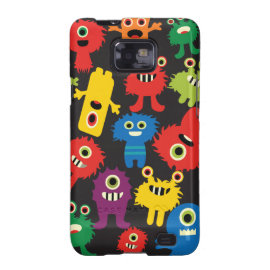 Colorful Crazy Fun Monsters Creatures Pattern Samsung Galaxy S2 Case