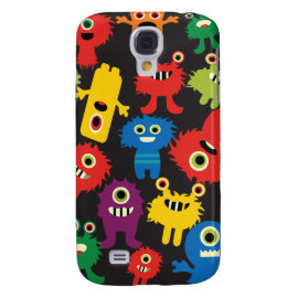 Colorful Crazy Fun Monsters Creatures Pattern Galaxy S4 Cover