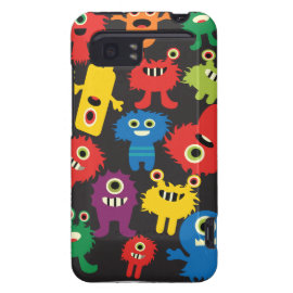 Colorful Crazy Fun Monsters Creatures Pattern HTC Vivid Cases
