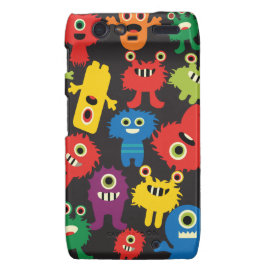 Colorful Crazy Fun Monsters Creatures Pattern Motorola Droid RAZR Cases