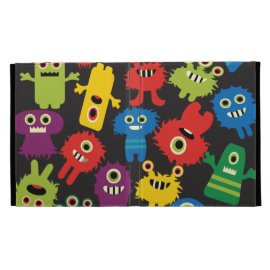 Colorful Crazy Fun Monsters Creatures Pattern iPad Folio Cases