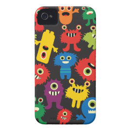 Colorful Crazy Fun Monsters Creatures Pattern iPhone 4 Covers