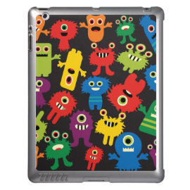 Colorful Crazy Fun Monsters Creatures Pattern Cover For iPad