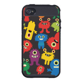 Colorful Crazy Fun Monsters Creatures Pattern Cases For iPhone 4