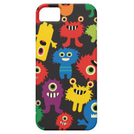Colorful Crazy Fun Monsters Creatures Pattern iPhone 5 Cases