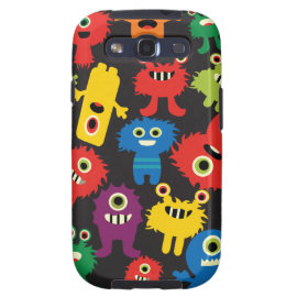 Colorful Crazy Fun Monsters Creatures Pattern Galaxy S3 Covers