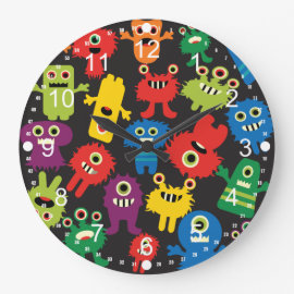 Colorful Crazy Fun Monsters Creatures Pattern Wallclock
