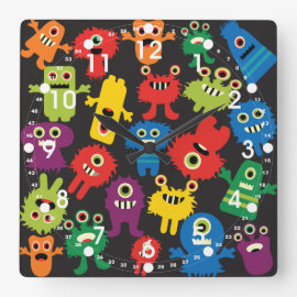 Colorful Crazy Fun Monsters Creatures Pattern Square Wallclocks