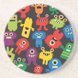 Colorful Crazy Fun Monsters Creatures Pattern Beverage Coasters