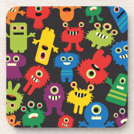 Colorful Crazy Fun Monsters Creatures Pattern Drink Coasters
