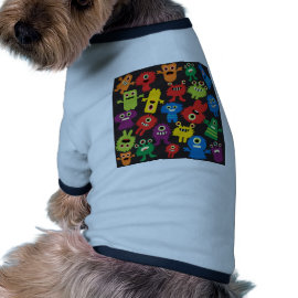Colorful Crazy Fun Monsters Creatures Pattern Dog Tee
