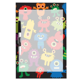 Colorful Crazy Fun Monsters Creatures Pattern Dry-Erase Whiteboards